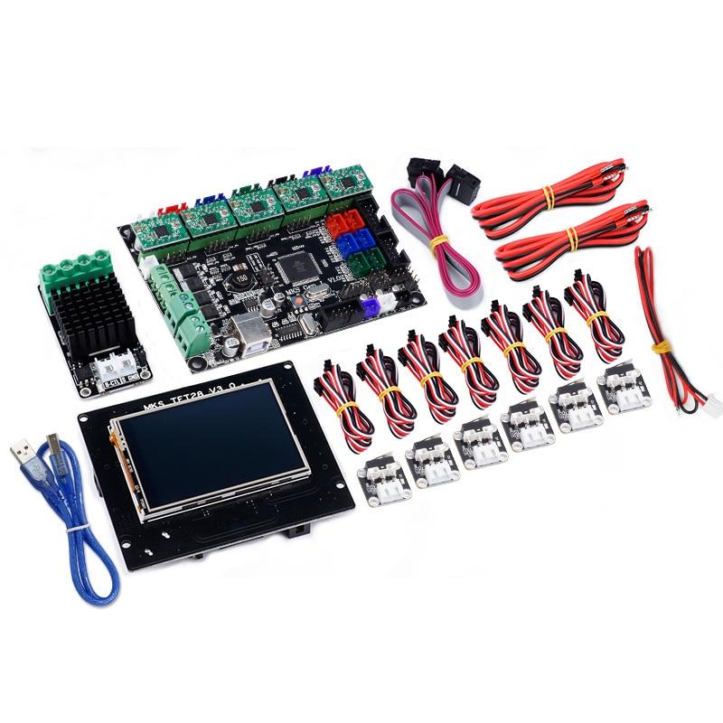 3D priner mainboard MKS GEN L+MKS TFT28 LCD display +drv4988+Limit switch+MOS module kits for diy 3d printer motherboard parts