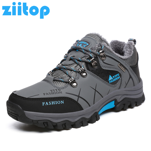 feb2e17d776 US $28.59 35% OFF Waterproof Leather Hiking Shoes Warm Fur Winter Sneakers  For Men Outdoor Trekking Climbing Traveling Camping Snow Boots Male-in ...