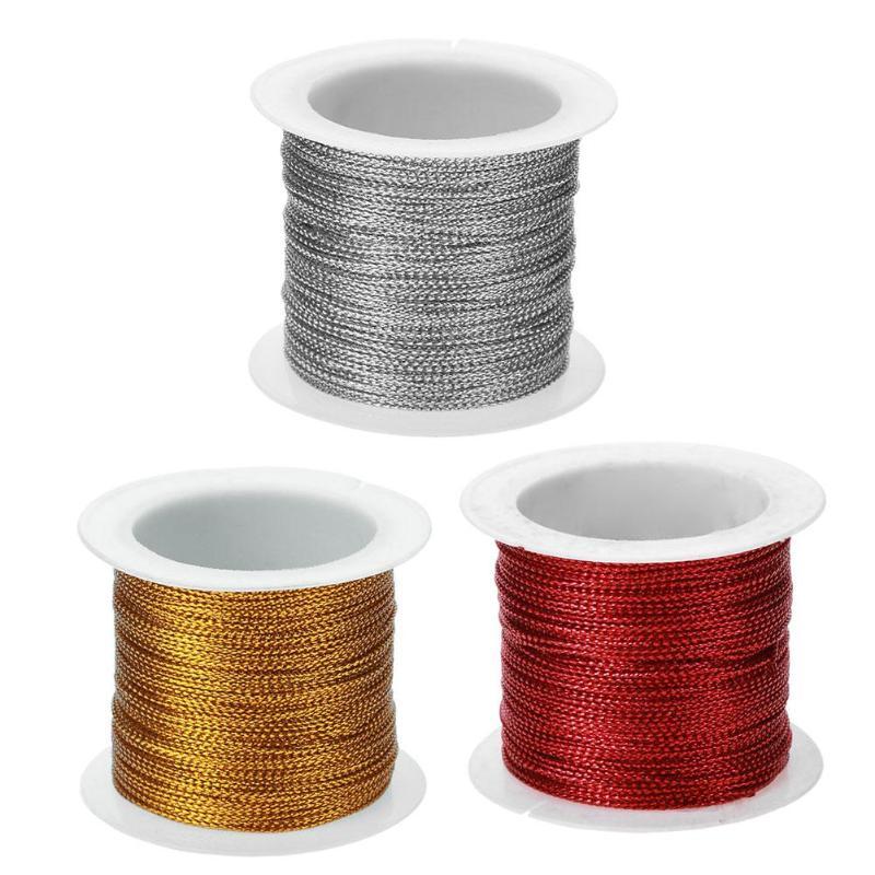 Золото/серебро/красный шнур нить веревка шнур ремешок DIY веревки браслет из ожерелья и бисера делая полиэстер оптоволоконный кабель Строка темы