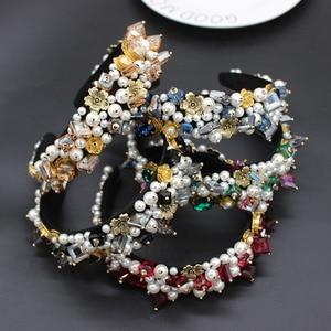 Image 2 - Personality street style headband Baroque exaggerated crystal pearls with headband catwalk dance multicolor headband 903
