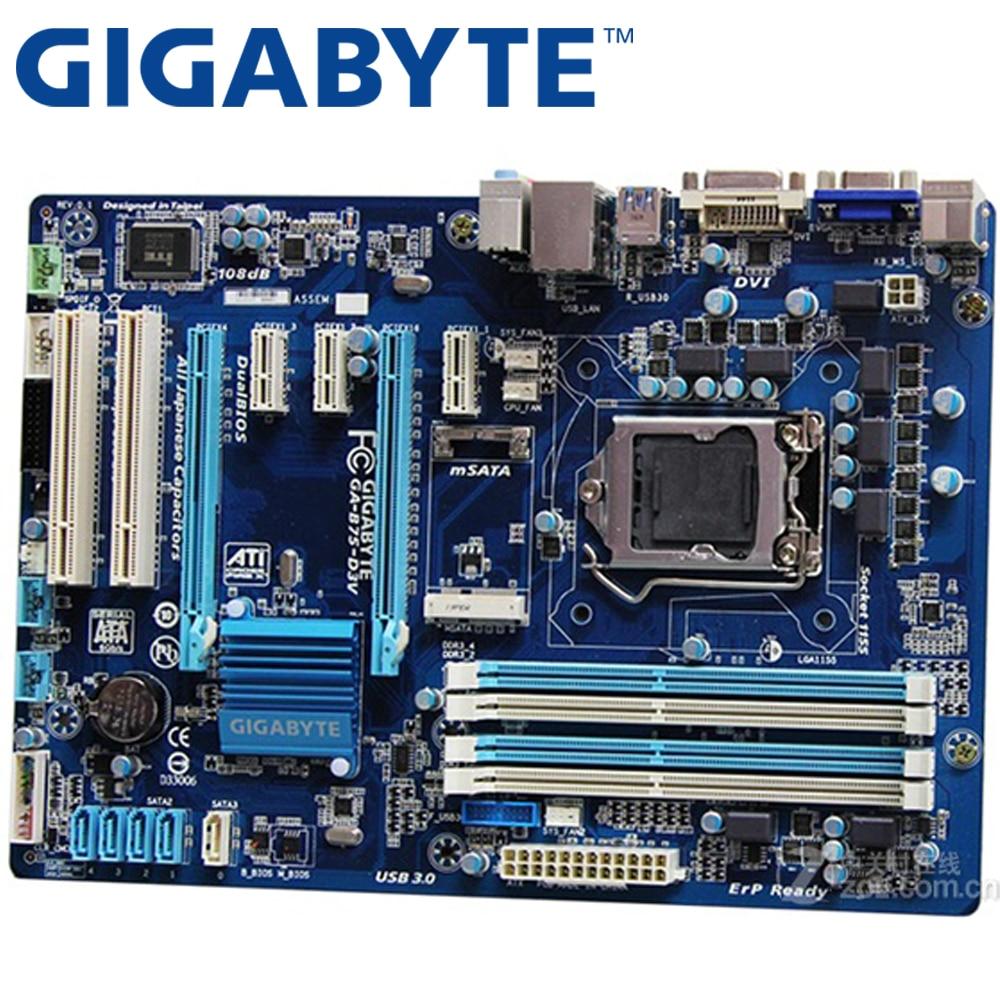 GIGABYTE GA-B75-D3V Desktop Motherboard B75 Socket LGA 1155 i3 i5 i7 DDR3 32G ATX UEFI BIOS Original B75-D3V Used  Mainboard asus p5ql epu desktop motherboard p43 socket lga 775 q8200 q8300 ddr2 16g atx uefi bios original used mainboard on sale