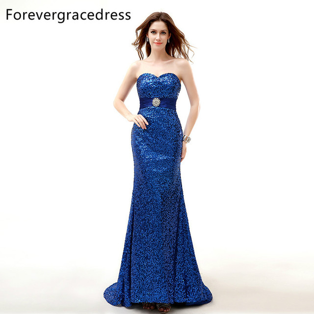 Forevergracedress Real Sample Royal Blue Evening Dress New Arrival  Sweetheart Sleeveless Long Sashes Formal Party Gown Plus Size c7e4457eb56e