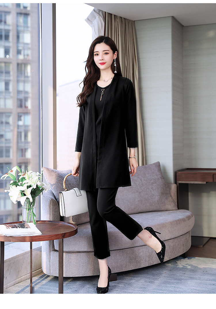 Spring Autumn 3 Piece Set Women Long Coat T-shirt And Pants Sets Casual Elegant Three Piece Sets Suits Women's Costumes 45