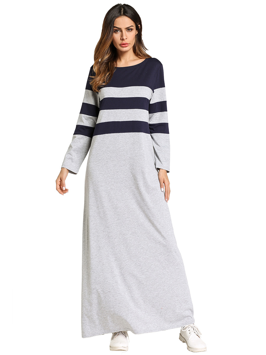 185742 Muslim Women 39 s Clothing In The Middle East Long Skirt Round Collar Color Stripe Splicing Dresses Mujer Vestidos in Islamic Clothing from Novelty amp Special Use