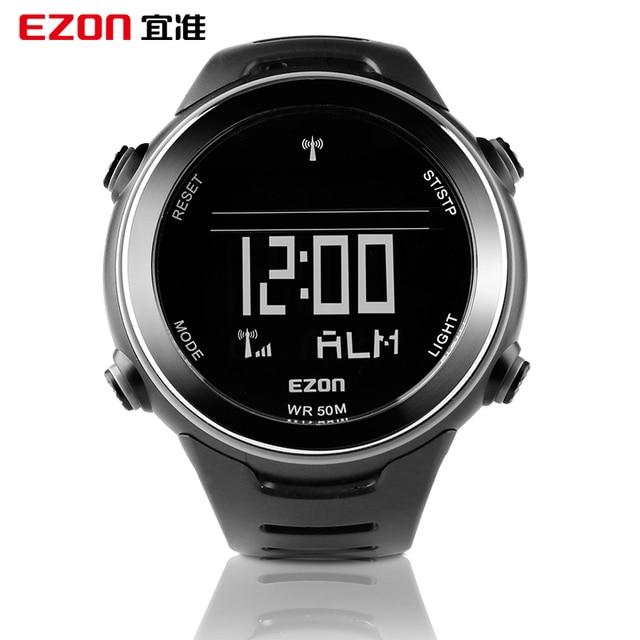 EZON Radio Wave Kalibreren Tijd Digitale Mannen Sporthorloge Outdoor Casual Running Zwemmen Waterdicht 50 m Horloge Montre Homme
