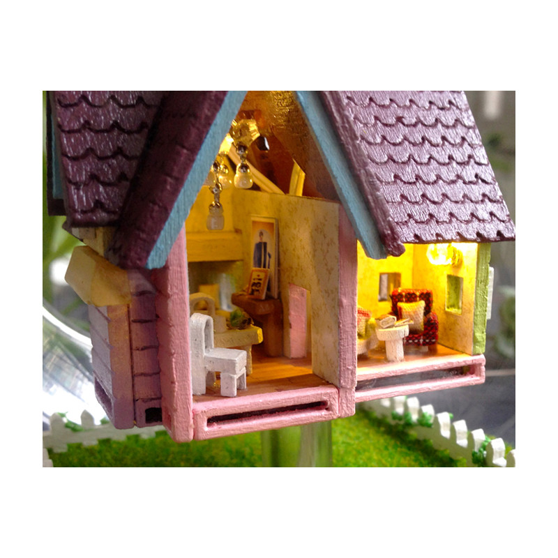 Us 1774 19 Offnovelty Diy House Glass Ball Flying Cabin Toypixar Film Up Model With Miniature Furnitureswooden Mini Handmade Model Gift Toy In