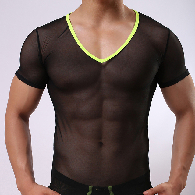 JJSOX Brand Man Undershirts Male Sexy Mesh Transparent V-neck Shirts Gay  Funny Ice Silk Sheer Basic Tee f8c734902