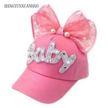 Cute Big Bow Girls Snapback Baseball Cap Children Mesh Hat Spring Summer Adjustable Casquette Kids Baby Pearl