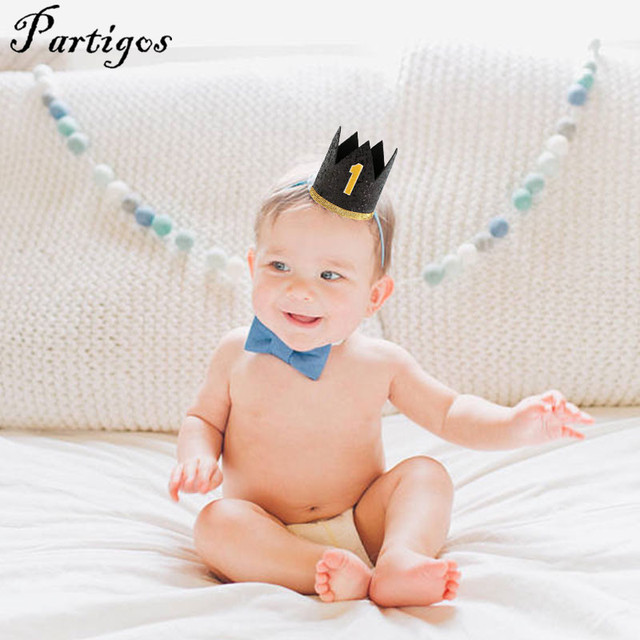 Happy First Birthday Black Party Hats With Gold Number Decor CapPrincess Crown 0 9 Year