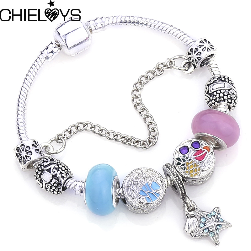 Blue Ocean Style Murano Crystal Charms Bracelets Silver Color Snake Chain Brand Bracelets & Bangles DIY Jewelry For Women Gift