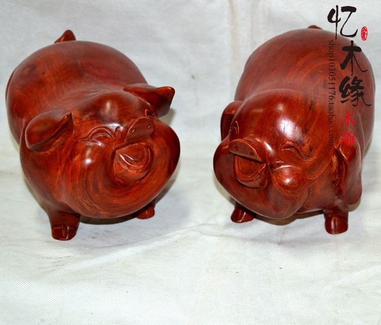 Wood carving ornaments crafts rosewood woodcarving pig  animal zodiac feng shui ornaments mahogany ornaments special