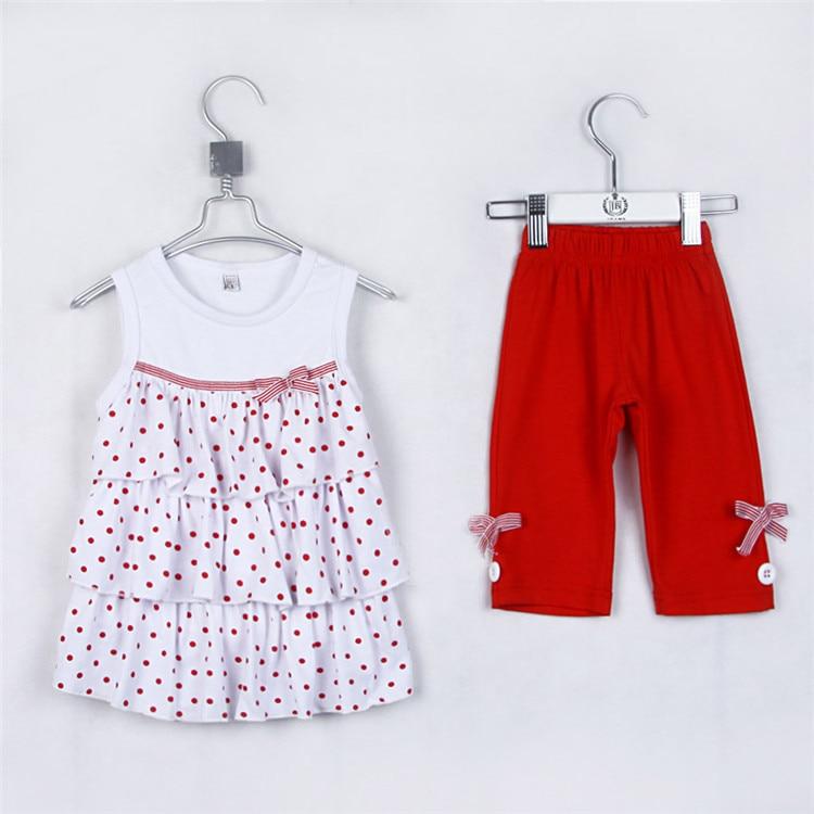 Été jolies filles coton gilet et pantalon moyen enfant filles mode vêtements de sport ensembles bébé filles belle robe 1583