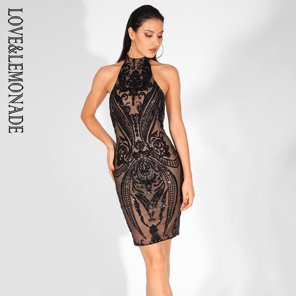 Love Lemonade Black Geometric Sequins Sexy Open Back Slim Dress LM80008BLACK