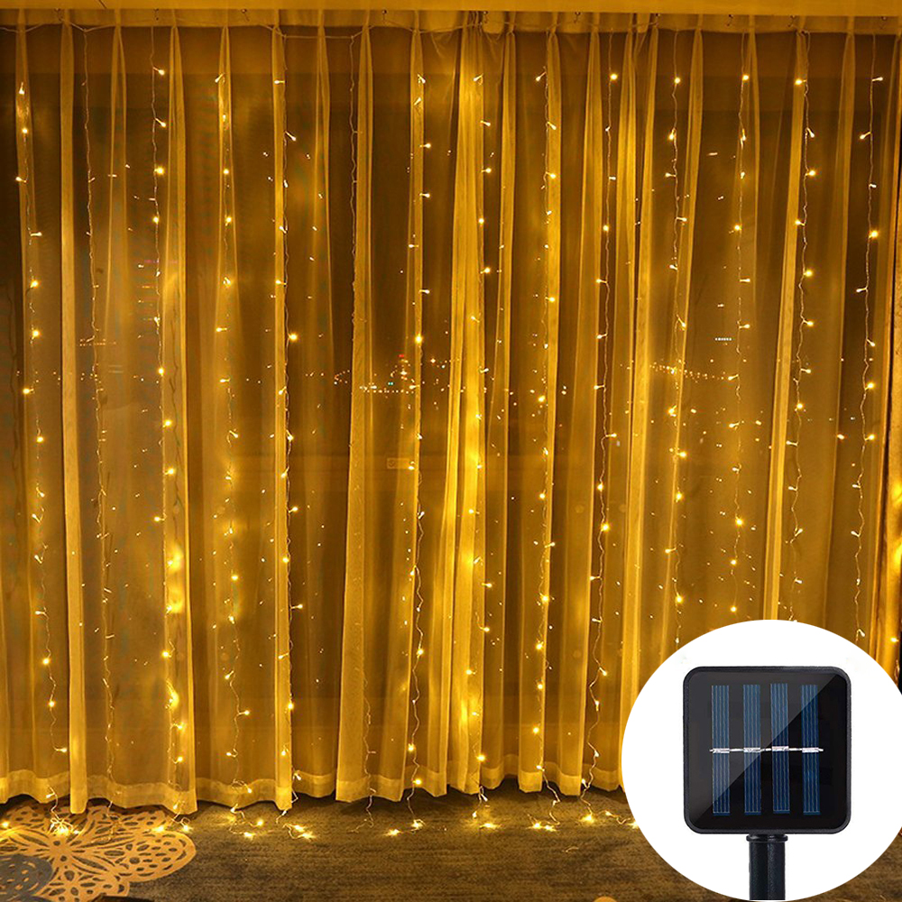 Waterproof Solar LED Curtain String Lights 3X3M 300 LED Window Curtain Lights For Wall Garden Wedding Halloween Party Decoration