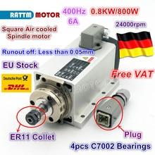 Square 0.8KW Air-cooled Spindle motor ER11 24000rpm 400Hz ENGRAVING MILLING GRIND 6.5A
