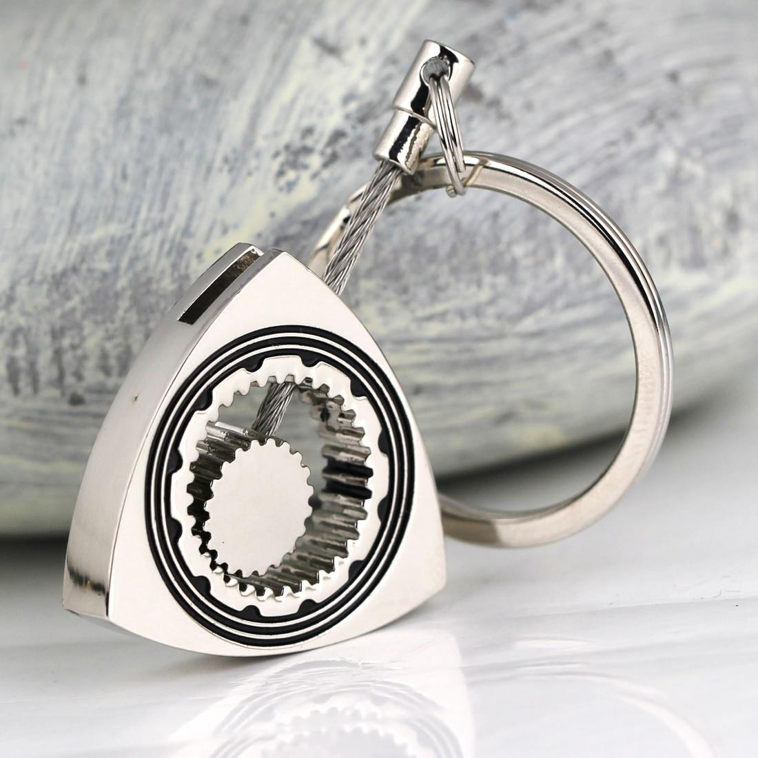Поворотний ротор брелок полірований срібло авто частина трикутник Wankel двигун брелок брелок ланцюги Keyfob автомобіль стайлінг прикраси 1шт