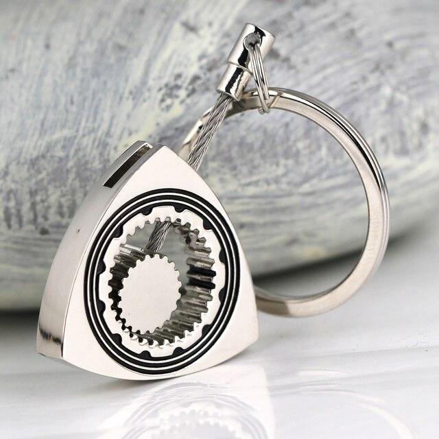 Porte-clés en argent poli de voiture   Rotor rotatif, Triangle Wankel de moteur, porte-clés de bibelot et chaînes, porte-clés décoration de style de voiture 1 pièce
