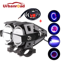 2PCS 125w U7 Led Motorcycle Headlight Angel Eyes Motorbike Head Lamp Fog Light Led Waterproof Cree