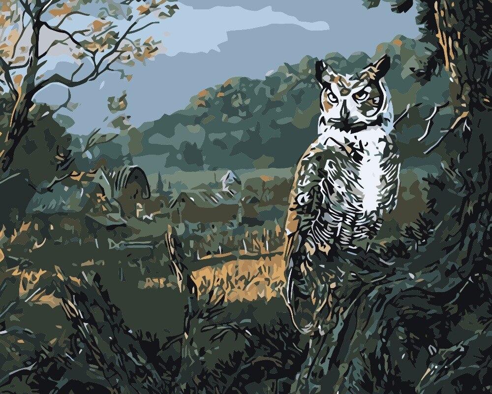 Mewarnai Gambar Dengan Angka Lukisan Minyak DIY Handmade Wall Art kanvas Cat Dekorasi Rumah burung hantu hutan Untuk Ruang Tamu Kreatif hadiah di Painting