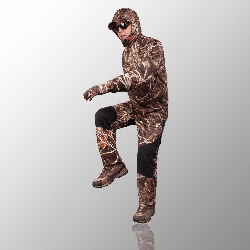 Extérieur jungle camouflage chasse vêtements bionic costume respirant protection solaire vêtements pêche vêtements chasse ghillie costume