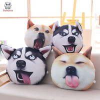 BOLAFYNIA Children Plush Stuffed Toy 3D Dog Face Pillow Baby Kids Toy For Christmas Birthday Valentine