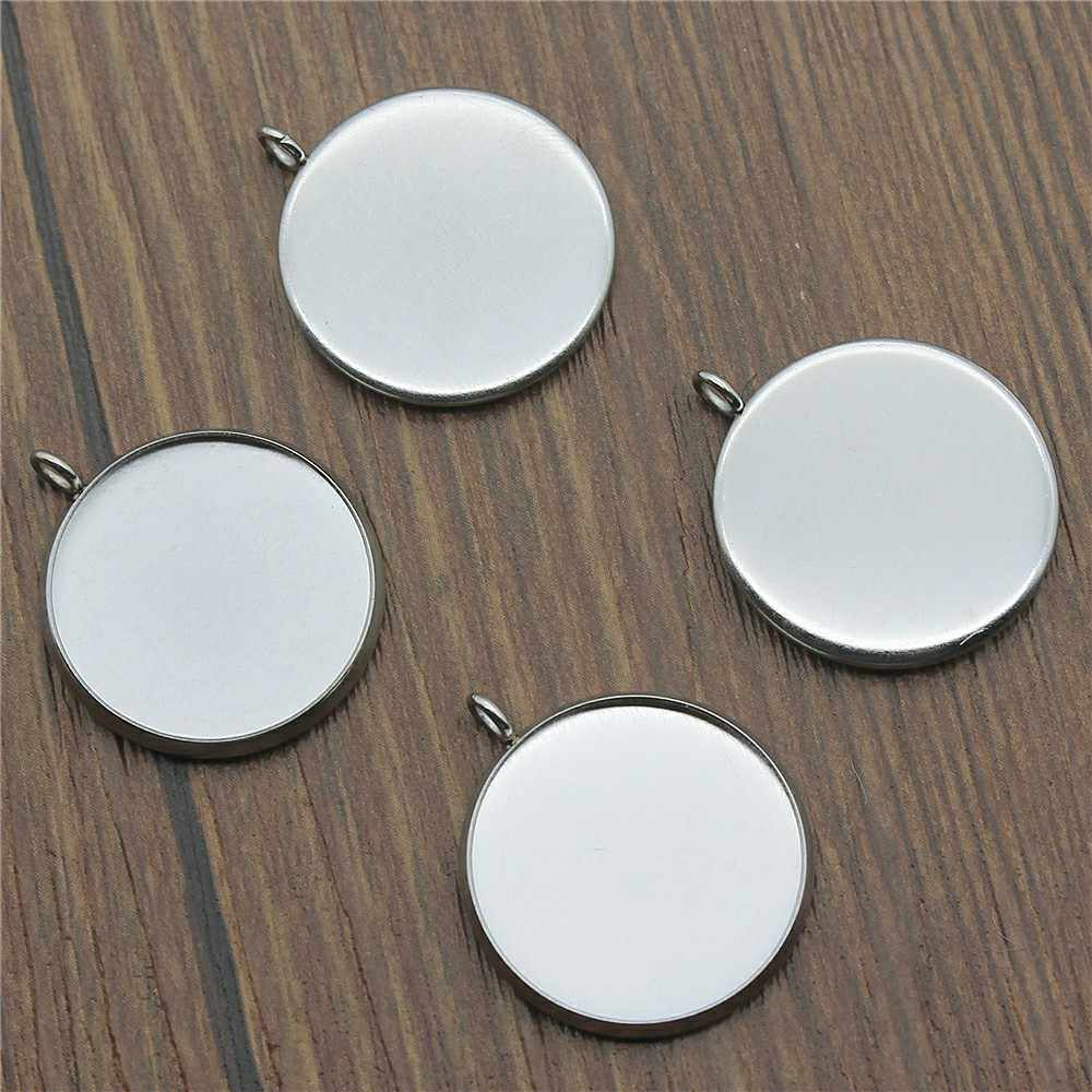 Fit 8~25mm Glass Cabochons Side Hanging Base Setting Pendant Tray Blank Bezels Setting Base