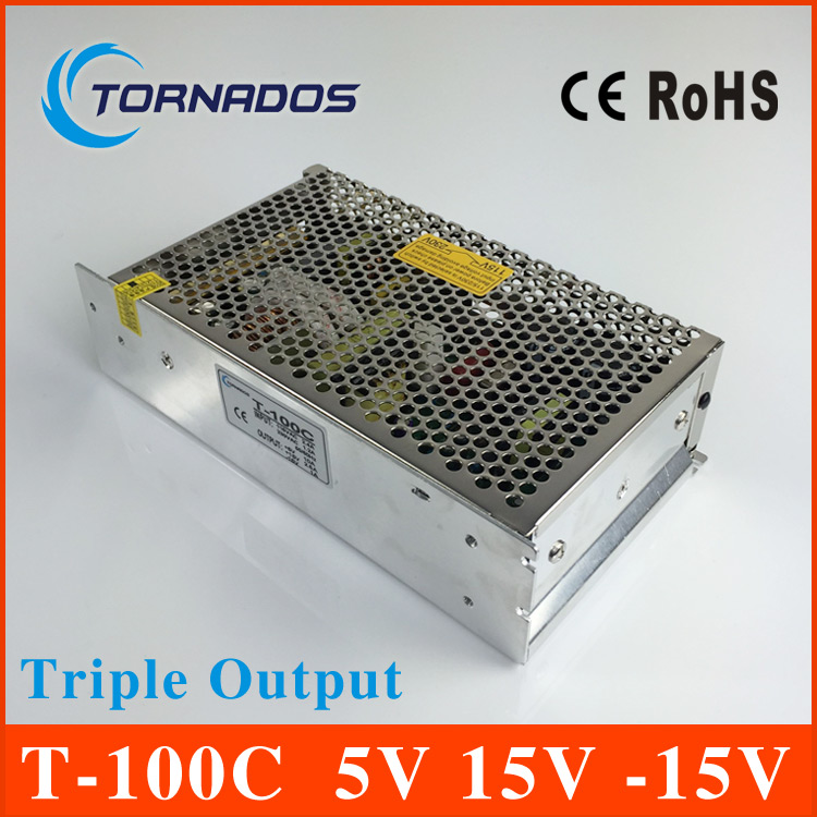 ФОТО Triple Output power supply 100W 5V 10A 15V 2.5A  -15V 1A ac to dc power supply T-100C high quality  CE approved
