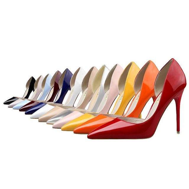 BIGTREE Brand Shoes Woman  Women Pumps Sexy Two Piece Patent Leather High Heels Women's Work Shoes sapatos femininos de salto