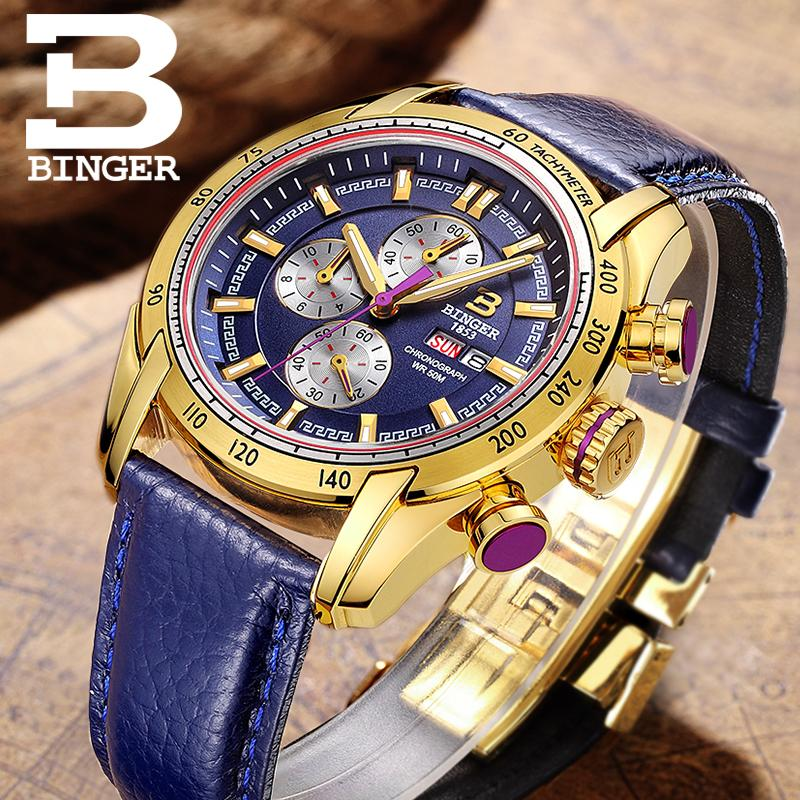 ญี่ปุ่นสวิสเซอร์แลนด์นาฬิกาผู้ชายแบรนด์หรูนาฬิกาข้อมือ BINGER Quartz ชายนาฬิกา Chronograph Diver glowwatch B1163 7-ใน นาฬิกาควอตซ์ จาก นาฬิกาข้อมือ บน   2