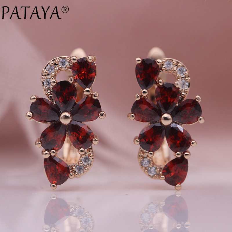 HTB1Jw9AKgmTBuNjy1Xbq6yMrVXa5 - PATAYA New Water Drop Plum Blossom Dangle Earrings Women Fashion Trendy Jewelry 585 Rose Gold Petal Natural Zircon Blue Earrings