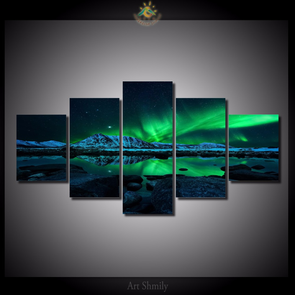 5 Pieces set Northenlight Wall Art Paintings Picture Paiting Canvas Home Decor Printed Painting Wall Art