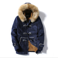 Men Winter Warm Thicken Parka With Fur Hooded Jacket Men Cotton Coat For Winter Park Plus Size Brand Clothing Wt964