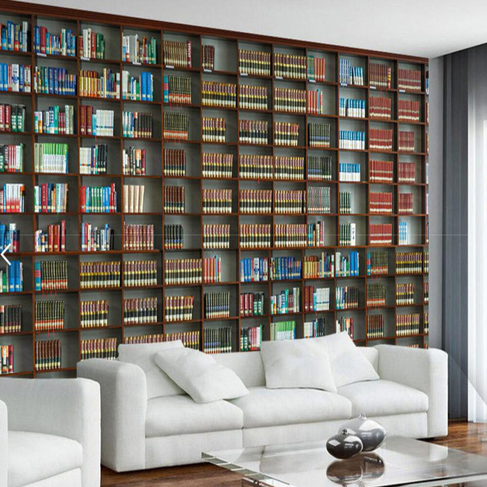Living Room With Bookshelf: Bookshelf Wall Mural Photo Wallpaper Roll For Living Room