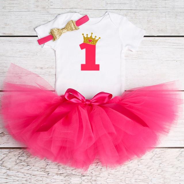 le dernier a0d06 991e3 € 4.88 30% de réduction|1 an vêtement de baptême infantile robe marque bébé  gâteau Smash robe enfant en bas âge tenue d'anniversaire nouveau né bébé ...