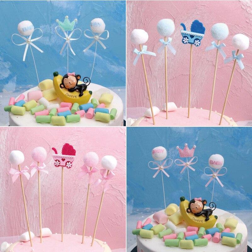 Сладкий Розовый Синий Корона коляска помпоном с бантом торт Топпер для 1st первый день рождения для девочек и мальчиков вечерние украшения д...