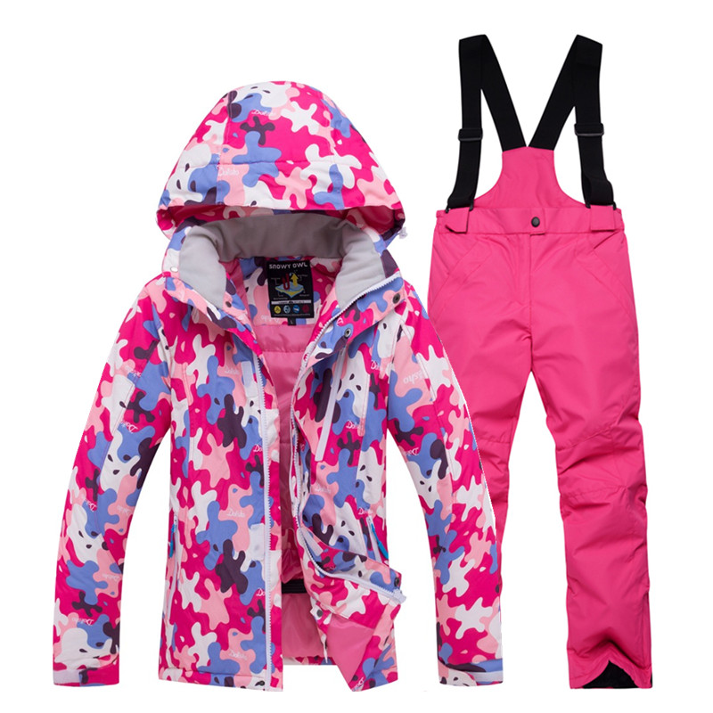 Winter children ski suit sets outdoor Gilr / boy snowboarding clothing Ski jacket waterproof Windproof  thermal jacket + pants