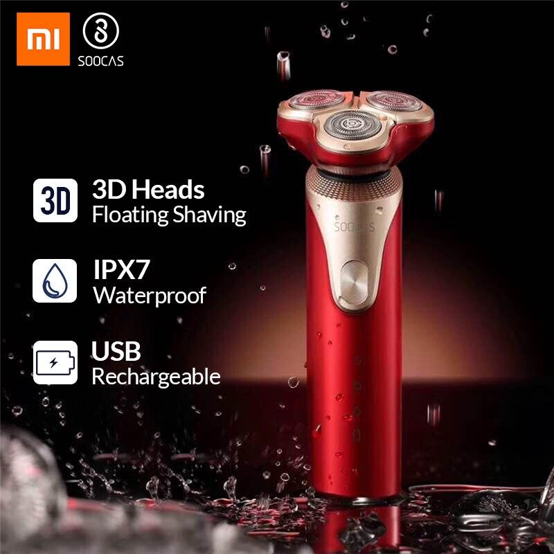 SOOCAS S3 3 Cabeça de corte Barbeador Elétrico Barbeador elétrico Seco Molhado Navalha de Barbear Inteligente USB Recarregável À Prova D' Água homens para youpin