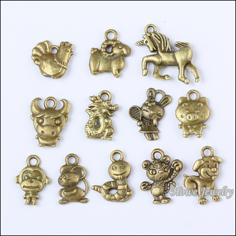 bronze charms from metal diy chinese vintage fit in pcs necklace jewelry zodiac pendant accessories bracelets on item antique