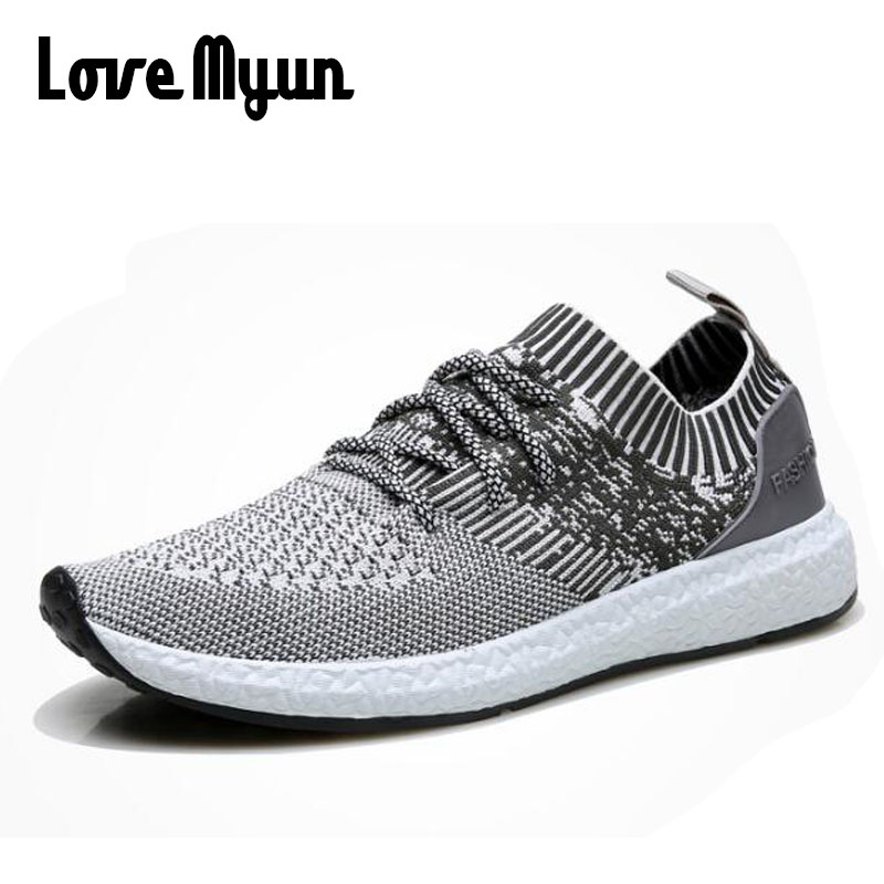 Men Knitted Fly weaving Breathable Zapatillas Hombre Casual Shoes Men Sapato Masculino New Air Sole Low Sneakers  HH-47