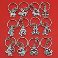 Women/Men's Fashion Handmade Vintage Silver 12 Zodiac Signs Key Chains Key Rings Alloy Charms Gifts YSDY30 Wholesale