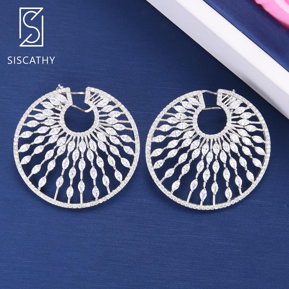 SisCathy 40 39mm Fashion Hollow Geometric Stud Earrings Elegant Full Cubic Zirconia Inlaid Big Statement Earrings 2019 New Hot in Stud Earrings from Jewelry Accessories