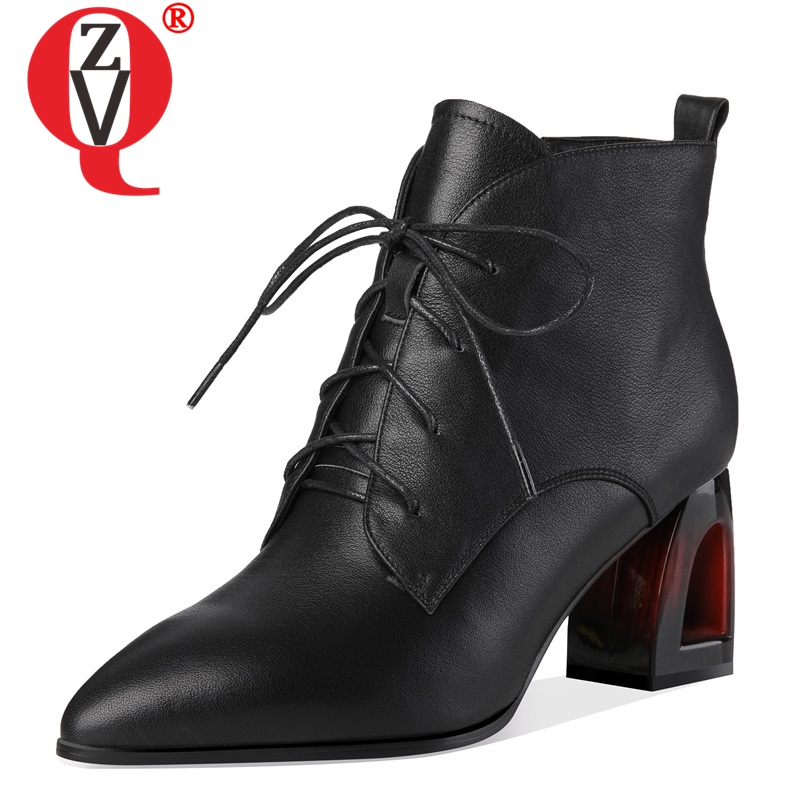 ZVQ 2018 nwe fashion pointed toe high quality genuine leather women shoes high fretwork heels zip cross-tied sexy ankle bootsZVQ 2018 nwe fashion pointed toe high quality genuine leather women shoes high fretwork heels zip cross-tied sexy ankle boots