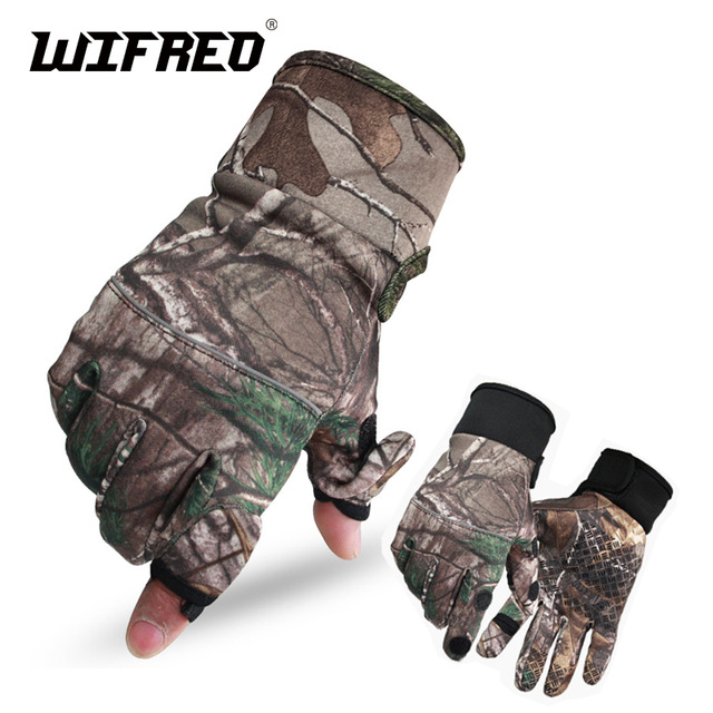 Wifreo Camoflage Fishing Gloves Hunting Gloves Anti-Slip 2 Fingers Cut Camping & Cycling Half Finger Gloves for Winter Warm pair of sweet cashmere hooded women s winter gloves with exposed fingers