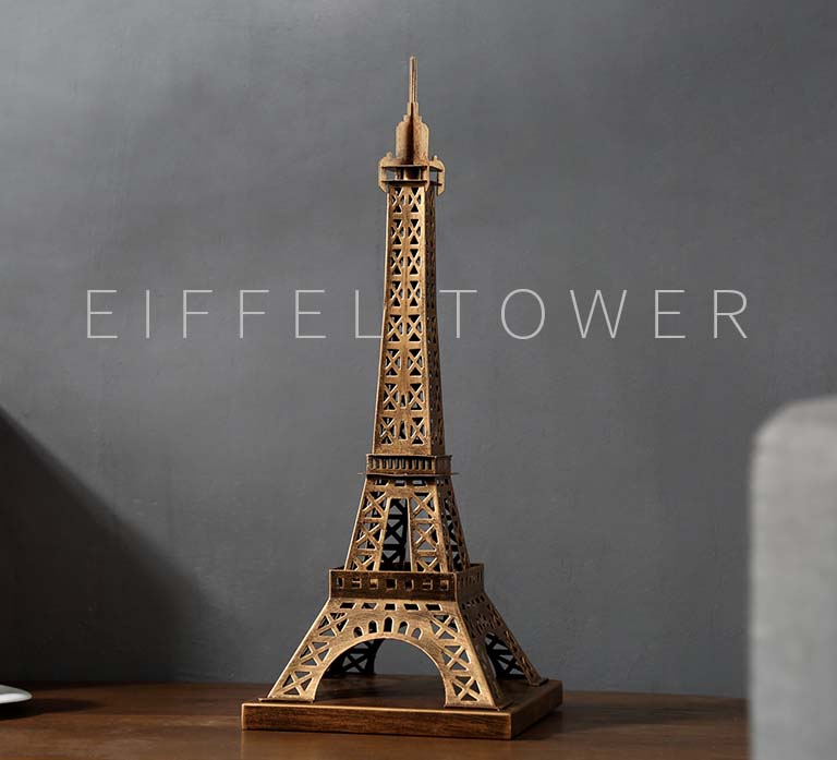 51CM -Christmas GIFT TOP COOL fashion office home shop decorative building art - handcrafted Retro Iron Paris'Tower brass Model