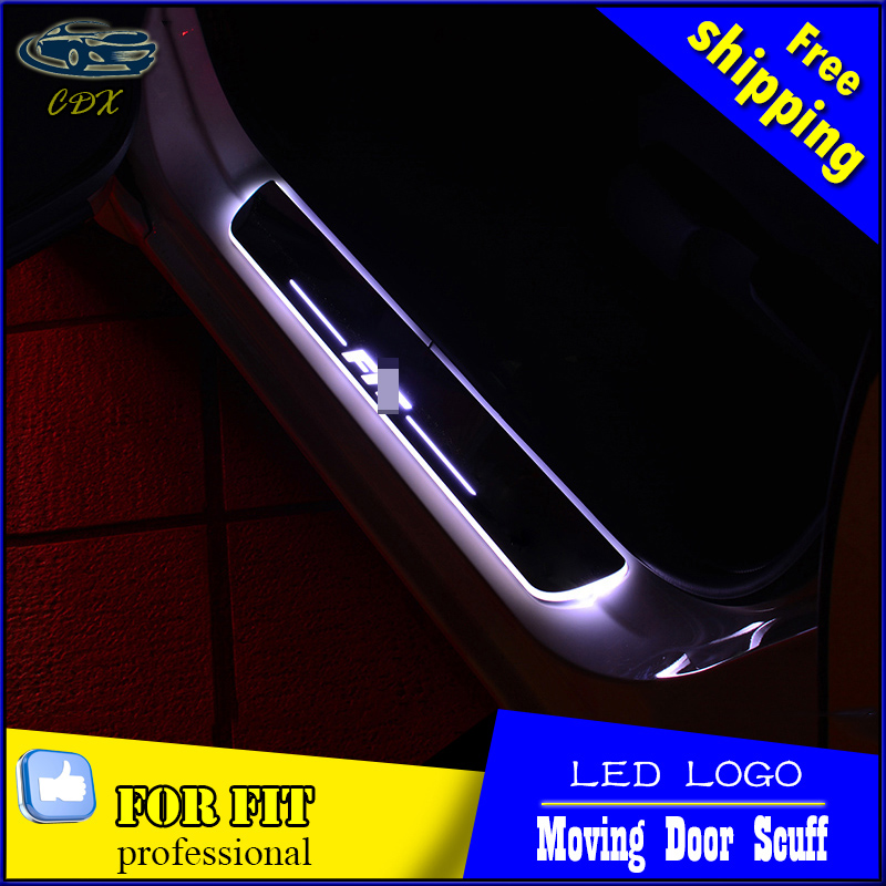 Car-styling LED Door Sill For Honda Fit 2010-2015 Led Moving Lights Door Scuff Plate Welcome Door Sill Light Welcome Pedal