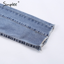 Simplee Flower embroidery denim pants female Tassel  light bule pocket pencil pants 2017 new women jeans bottom streetwear