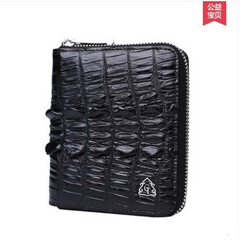 Gete 2016 new import Thailand crocodile purse paragraphs vertical lady leather fashion high-capacity short wallet ouluoer thailand imported crocodile skins the lady women purse with a purse and a long women wallet