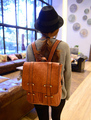 Backpack in British college students wind restoring ancient ways bag PU leather  shoulders dual women bag