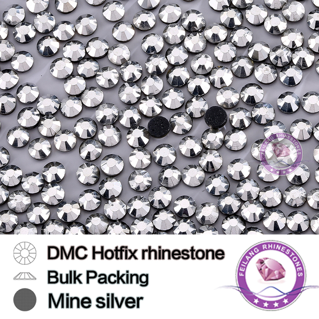 Mine Silver SS6 SS10 SS16 SS20 SS30 Bulking Packing DMC HotFix Rhinestone For Garments Bags And Shoes