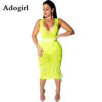 Sexy Feather Sheer Mesh Hot Drilling Rhinestones Dress Summer Sleeveless V neck Bodycon Midi See Though Club Outfits